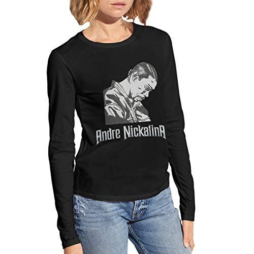 WillardSCox Women's Andre Nickatina Casual Vintage Cute Long Sleeve T-Shirts Black M