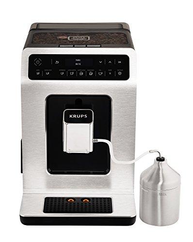 KRUPS Evidence Silver avec pot à lait inox Machine à café à grain Machine à café broyeur grain Machine expresso automatique Mousseur à lait Cappuccino Espresso Nettoyage automatique EA891D10