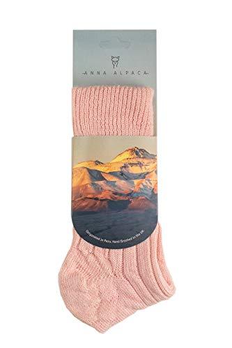 Anna Alpaca - Luxuriously Soft, Thick and Warm Alpaca Bed Socks (Pink, Small UK 3-5)
