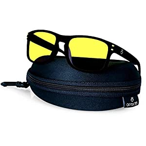 Night Vision Glasses for Driving, Anti-Glare Polarized, Night Driving Glasses for Men & Women, Yellow-Tinted with Hard Case (Night Vision/Black) from Optix 55
