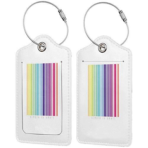 FULIYA - Juego de 2 etiquetas de cuero para maletas y maletas (identificador de viaje para bolsas y equipaje, para hombres y mujeres, código de barras, coloreado, rayas, blanco