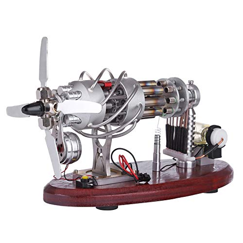 Amitas Stirling Engine Motor Generador de 16 cilindros con pantalla digital de voltaje y perlas LED, motor Stirling Sterling Engine, juguete educativo para experimentos de física