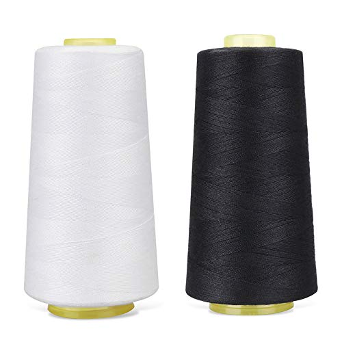 RCL 100% Polyester Sewing Thread Spools - 3000 Yards/1 Spool of Yarn, 40/2 All-Purpose Connecting Threads for Sewing Machine and Hand Repair Works (Black & White)