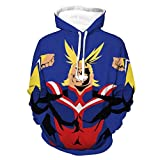 Photo de Kfacvy All Might Anime Hoodies Man My Hero Academia Sweatshirts for Womens Unisex Boku no Hero Academia Japanese Manga ACG Pullover Cotton Casual Funny Sweatshirts Blue,3XL par