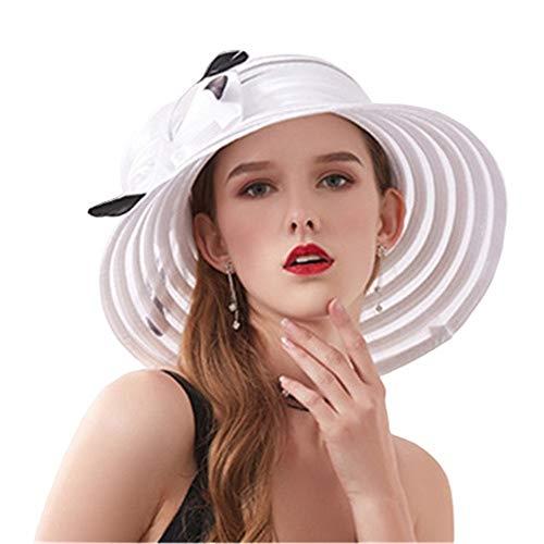 SHJIA Damen Faltbare Mesh Flower Sonnenhut, Summer Gaze Ultraleicht und eleganter Sonnenschutz Retro Damen Sonnenkrempe mit breiter Krempe Outdoor-Mode