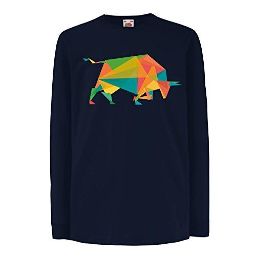 N4364D Kinder-T-Shirt mit Langen Ärmeln Fashion Bull (3-4 Years Blau Mehrfarben)