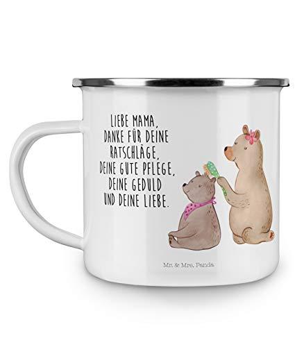 Mr. & Mrs. Panda emailliert, Deko-Becher, Camping Emaille Tasse Bär mit Kind mit Spruch - Farbe Weiß