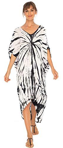 SHU-SHI - Damen Strandkleid zum Überziehen - lockere Tunika mit Batikmotiv - Oversize - Schwarz/Off-White - L-XL