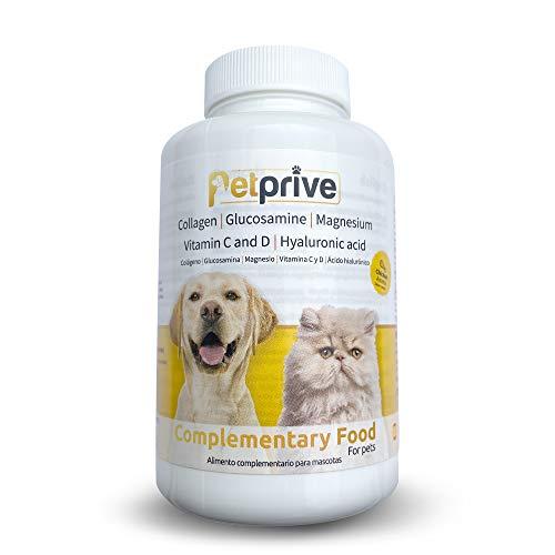 Petprive Integratore Naturale Antinfiammatorio Condroprotettore per Cani e Gatti con Collagene Idrolizzato, Glucosamina, Acido Ialuronico, Magnesio, Vitamine C e D e Artiglio del Diavolo