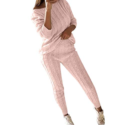 LISTHA Sweater Outfits Women Off Shoulder Cable Knitted Warm Loungewear Pant Set Pink