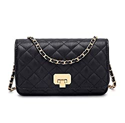 Túi xách nữ Women Black Quilted Purse Crossbody Designer Shoulder Bag with Chain Strap (Ama