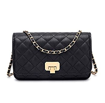 Women Black Quilted Purse Lattice Clutch Small Crossbody Shoulder Bag with Chain Strap Leather