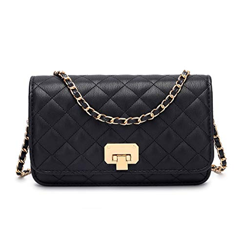 Women Black Quilted Purse Lattice Clutch Small Crossbody Shoulder Bag with Chain...
