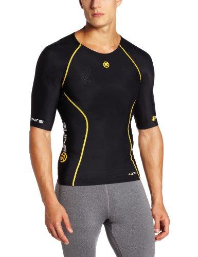 SKINS A200 Mens Top Short Sleeve Black/Yellow Manches Courtes de Compression Homme, Noir/Jaune, FR : M (Taille Fabricant : M)