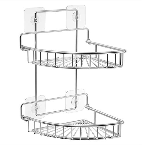 For Sale! SMARTAKE 2 Tiers Shower Caddy, Rustproof Bathroom Shelf with Adhesive, Wall Mounted Corner...
