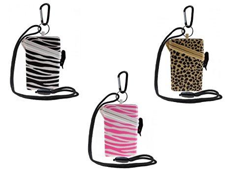 WITZ® STRANDSAFE Large - großer wasserdichter Badesafe | Strandbox | Schwimmsafe + Karabinerhaken | Zebra Print schwarz weiß