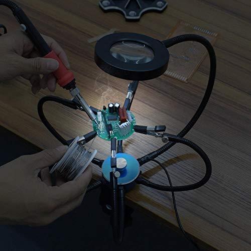 LIUXING Leselupe USB-Gläser Lupe Lötstation Third Hand-Werkzeug Dreh Schraubstock Tischklemme (Farbe : Blau, Größe : Einheitsgröße)