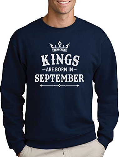 Geschenk Pullover für Ihn - Kings Are Born in September Sweatshirt Small Marineblau