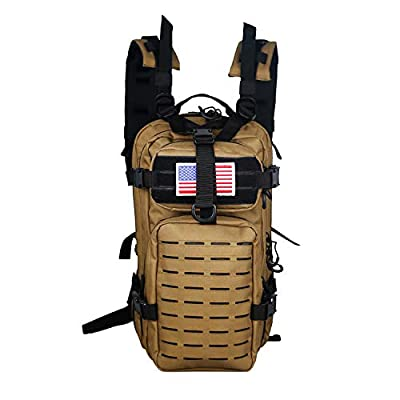 Warriors Product Small Assault Backpack Military Tactical Backpack Molle Bag with Flag Patch for Outdoor (Tan/Black)