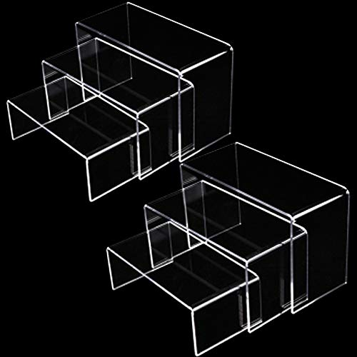 Xilanhhaa 2 Sets of 3 Size Clear Acrylic Display Risers Steps Acrylic Display StandClear Showcase Display Shelf for Candy Dessert Collectible Figures Table Decorations