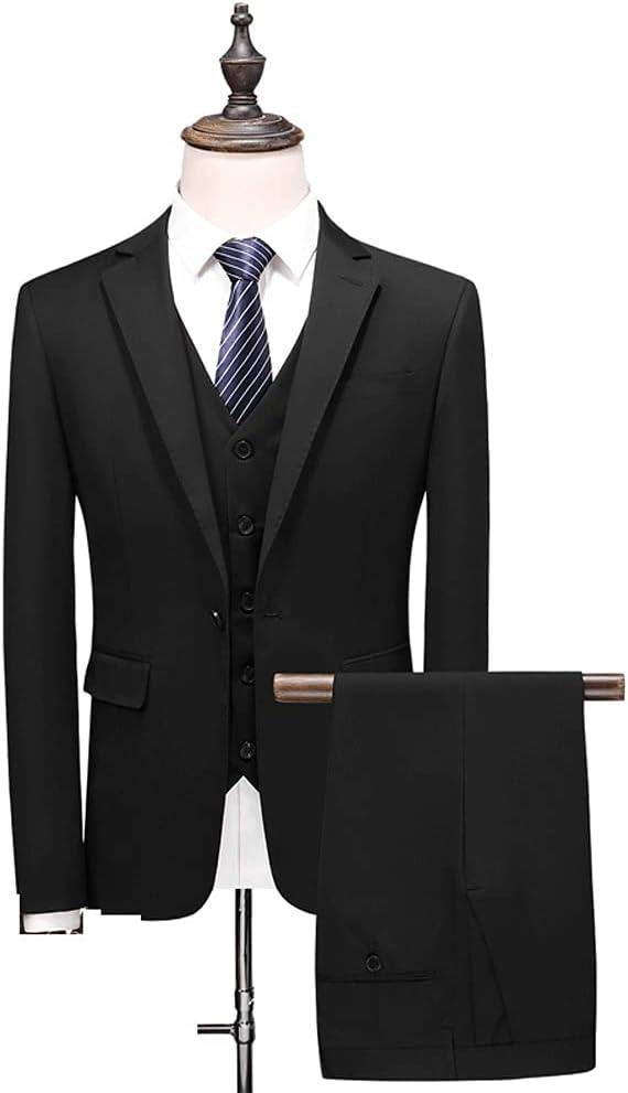 DIAOD Men's Business Suit Jacket Slim Shape Wedding Man Groom Tuxedo Suit (Color : Black, Size : 3XL 74-80kg)