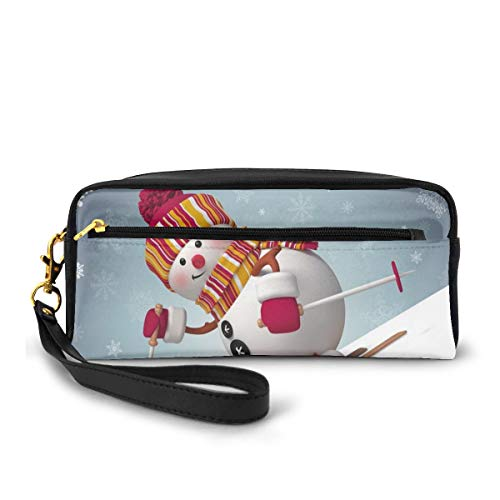 Pencil Case Pen Bag Pouch Stationary,Skiing Snowman in 3D Style with Ornate Snowflakes Winter Outdoors Activity Fun,Small Makeup Bag Coin Purse