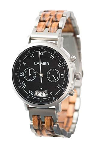 LAiMER 0080 - LEON, Orologio analogico da polso al quarzo, cronografo, con cinturino in legno Zebrano e acciaio premium, uomo