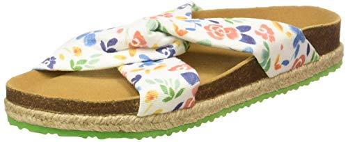 PAEZ Sandal Knot Flowery, Sandalias con Punta Abierta Mujer, Blanco (Blanco 100), 36 EU