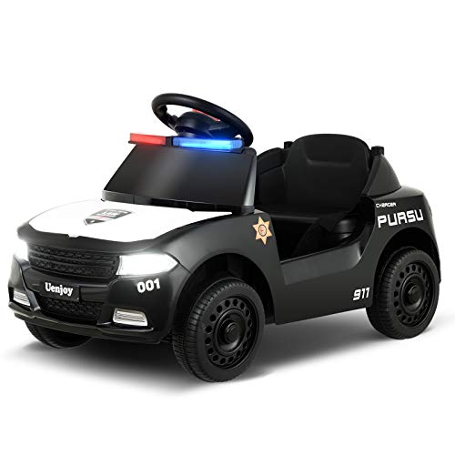 Uenjoy 6V Kids/Babies Police Ride On Car Battery Operated Electric Cars for Boys&Girls, with LED Siren Flashing Light, Storage Space, Headlight, Music&Horn, Water Cup Slot, Seat Belt, Black.