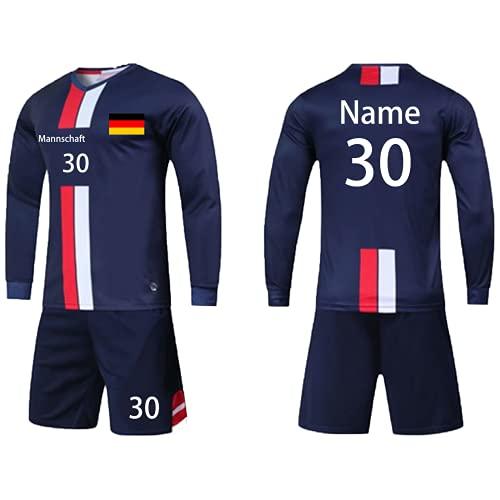 Benutzerdefiniert Trikot mit Hose & GRATIS Name + Nummer Team Logo - Geschenk für Kinder Erw.Jungen Fußball Personalisiert