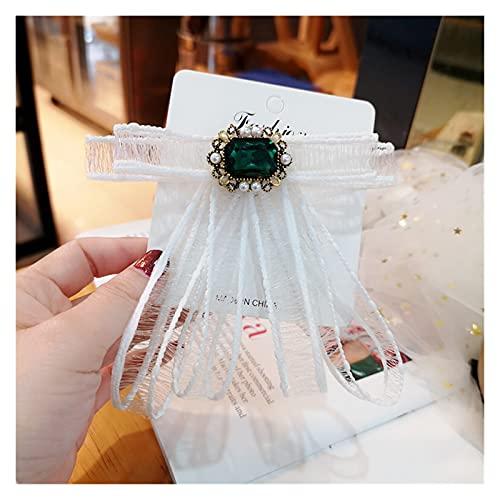 yywl Broche Koreanische Mode Stoff Spitze Bogen Brosche Kristall Bowkont Krawatte Hemd Kleid Kragen Pins Corsage Schmuck Für Frauen Zubehör Broschen & Anstecknadeln (Metal Color : White)