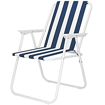 SPRINGOS Chaise de camping pliante avec accoudoirs - Pour le camping, les vacances, les festivals - 74 x 52 x 57 cm - Cadre en métal en tubes d'acier (blanc/bleu)