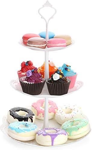 Alzata per torta in plastica a 3 livelli, dessert alla frutta Caramelle Buffet Tè Snack Biscotti Porta cupcake Display piatto la casa per Halloween Matrimonio Festa di compleanno, Rotondo