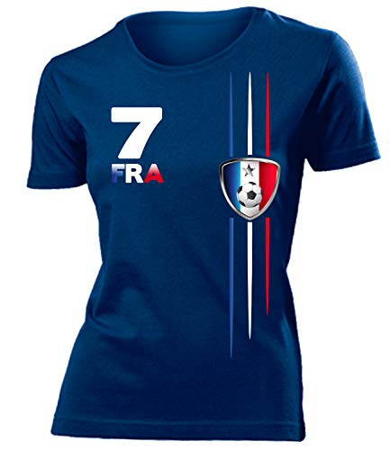 Frankreich France Fanshirt Fussball Fußball Trikot Look Jersey Damen Frauen t Shirt Tshirt t-Shirt Fan Fanartikel Outfit Bekleidung Oberteil Hemd Artikel