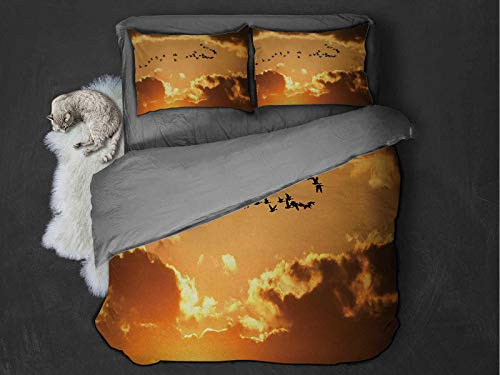 Toopeek Birds hotel luxury bed linen A Flock of Migratory Canadian Geese Flying at Sunset Cloudy Sky Monochromic Art polyester - soft and breathable (King) Brown Yellow