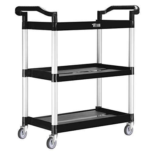 TUFFIOM 3-Tier Plastic Utility Cart, Heavy Duty 330/390/450lbs Capacity, Commercial Rolling Service Cart, for Restaurant, Foodservice, Office, Warehouse, Black (S - 30.3''L x 12.1''W x 31.9''H)