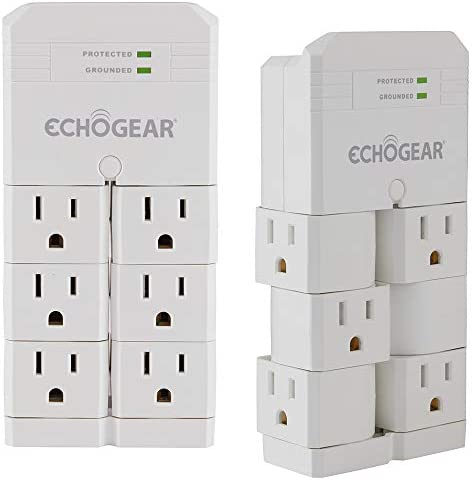 ECHOGEAR On Wall Surge Protector 2 Pacl with 6 Rotating AC Outlets 1080 Joules of Surge Protection product image