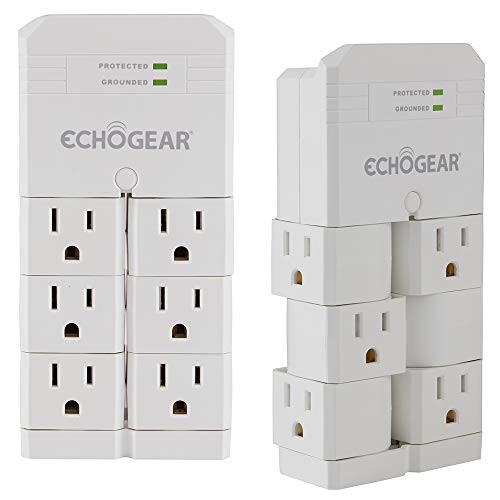 ECHOGEAR On-Wall Surge Protector with 6 Pivoting AC Outlets & 1080 Joules of Surge Protection - Low Profile Design Installs Over Existing Outlets to Protect Your Gear (White 2 Pack)