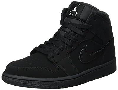 Nike Men's Air Jordan 1 Retro Mid Basketball Shoe, Black/White-Black, 8 D(M) US