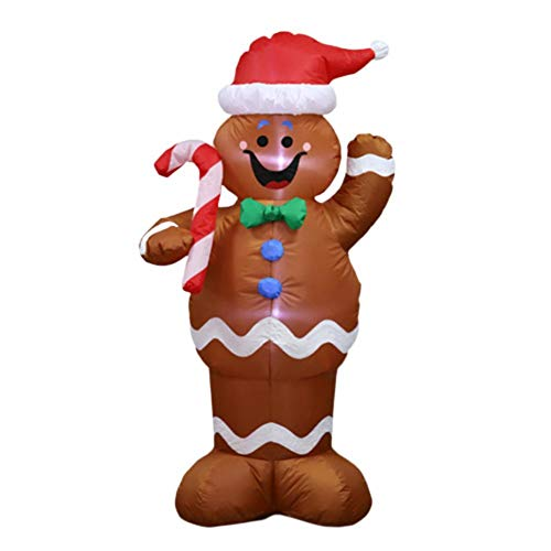 Hualieli 1.5 m Inflatable Gingerbread Man Prop Inflatable Christmas Santa Decoration Hold A Candy Stick Outdoor Holiday Decorations Lawn Home Yard Decoration