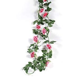 Silk Flower Arrangements yuanyuxi Decorative Flower Vine Home Artificial Flower Rose Vine Living Room Balcony Decoration Fake Flower Rattan Artificial Rose@10 Azaleas - Rose Pink