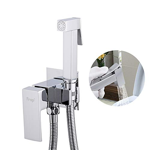 HNBMC Bidet Wasserhahn Messing Duschhahn, Kalt- und Heißwasserkontrolle, Waschmischer Muslim Mixer Kran, quadratisches selbstreinigendes Duschspray