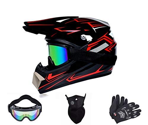 BDUCK D.O.T Casco de moto para niños y jóvenes, para cross y enduro, para descensos, estándar para niños, quad, bicicleta, ATV, con máscara y guantes