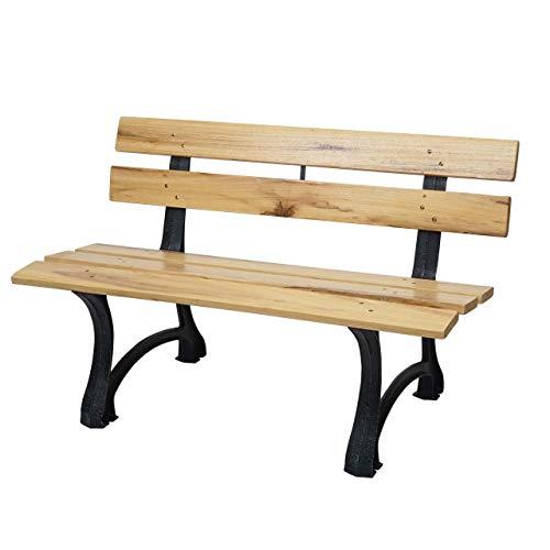 Mendler tuinbank HWC-F96, zitbank parkeerbank houten bank, gietijzer 2-Sitzer 125cm hellbraun bruin