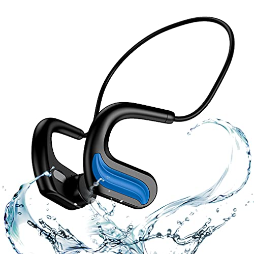 Auriculares Inalámbricos Deportivo para Natación Open-Ear, 32GB Cascos MP3 Conducción ósea IPX8 Impermeable, Reproductor de MP3 para Natación, Cascos Estéreo Inalámbricos para Correr Fitness Blue