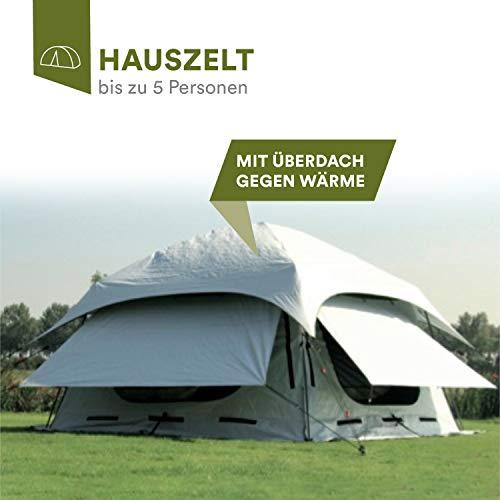 skandika Varberg Hauszelt für 5 Personen | mit Überdach gegen Wärme | Moskitonetze | sehr schneller Aufbau