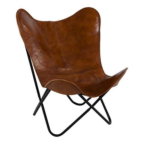 Lesli Living Schmetterlingsstuhl Faltstuhl Butterfly Chair Buffalo braun 75x75x87 cm Leder