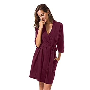 SIORO Cotton Robes Lightweight Kimono Robe Gowns Soft Knit Bathrobe Nightwear V-Neck Loungewear Sexy Sleepwear Short For Women Burgundy L