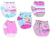 Peppa Pig Baby Girl's 5-Pack Gripper Quarter Socks, 18M-24M