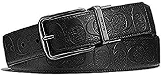 Coach Wide Signature Leather Reversible Belt Cut To Size F55157 Black